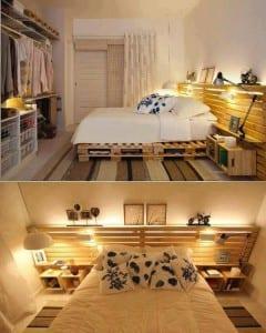 Tahta Paletlerden Yatak Odası