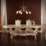 altın varaklı beyaz klasik yemek masası