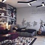 gri-siyah-beyaz dekore edilmiş genç odaları