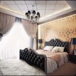 Extraordinary Combination of Black gold color bedroom interior design