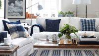 Yazlık Ev Mavi Beyaz Salon Dekorasyonu