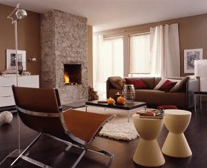 şömineli modern salon dekorasyonları