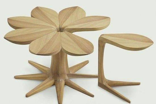 ahşap sekiz yapraklı çiçek formunda zigon sehpa modeli