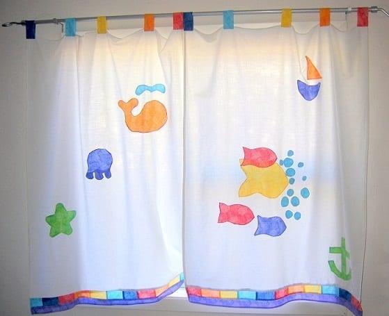 balık desenli bebek odası perde modelleri