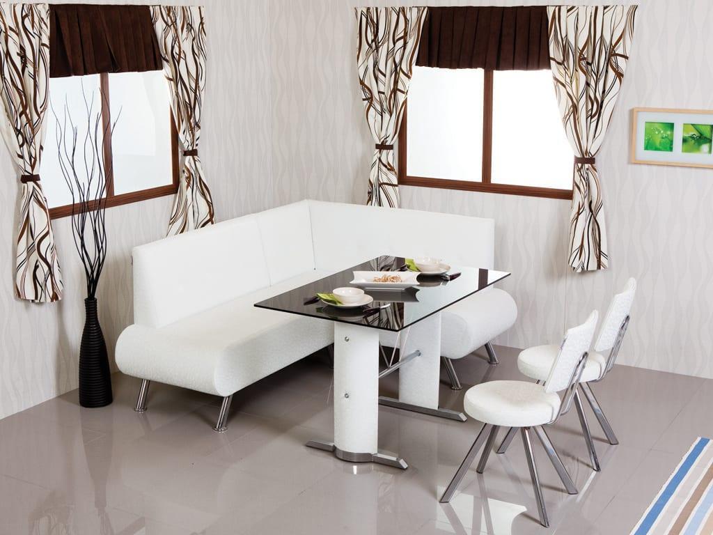 beyaz deri modern mutfak köşe takımı