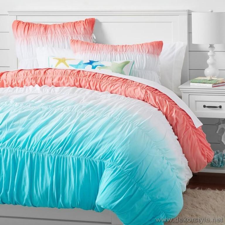 Boyalı dantelli 2017 genç kız yatakları için örtüler