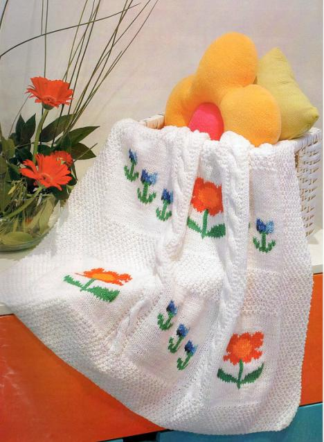 ciçek-desenli-el-örgüsü-bebek-battaniyesi