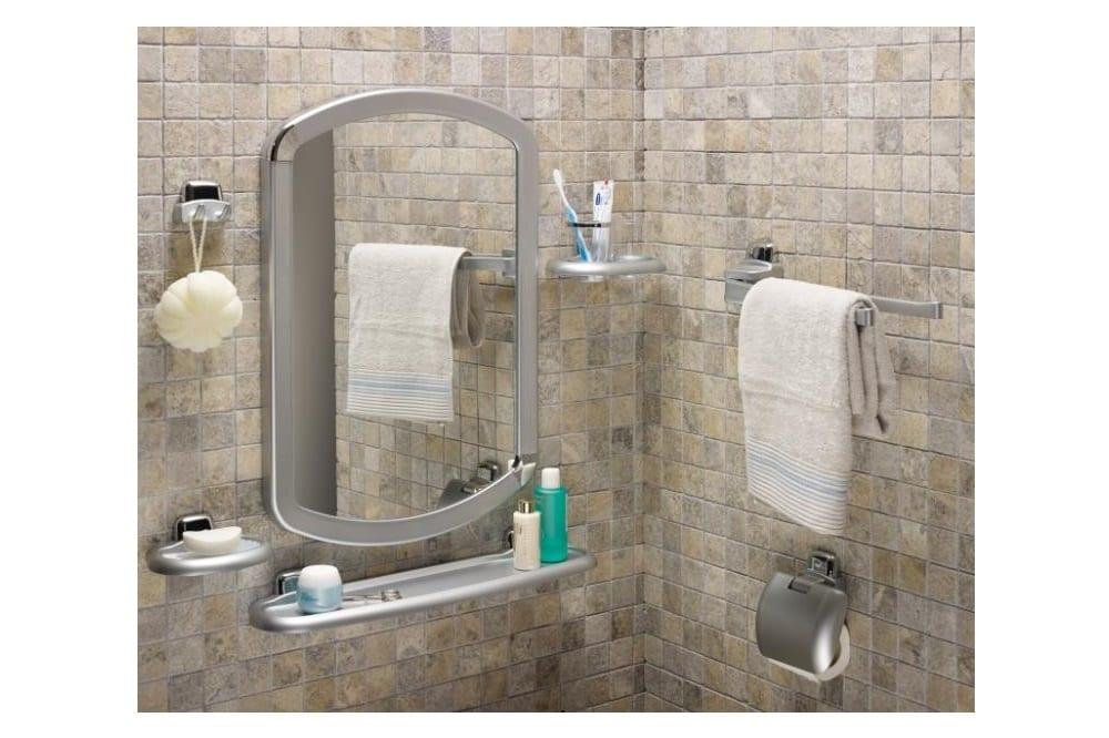 gümüş renkli banyo ayna seti