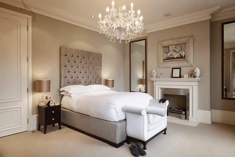 modern gri yatak odası dekorasyonu