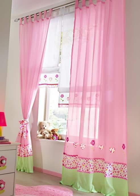 pembe bebek odası perdesi