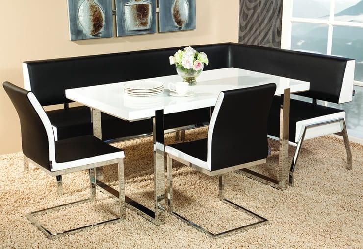 siyah beyaz modern mutfak köşe takımı modelleri