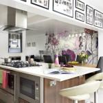 çiçekli mutfak duvar kağıdı