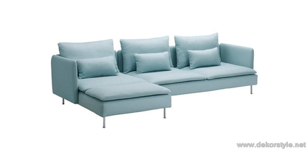 Açık mavi tonları ikea köşe koltuk takımı modeli