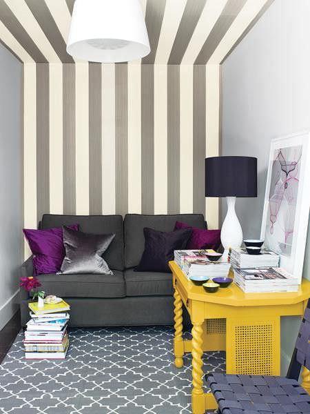 duvardan tavana çizgi desenli duvar kağıtları