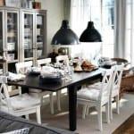 ikea beyaz sandalyeli modern yemek masası