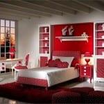 kırmızı beyaz puanli genc kiz yatak odasi