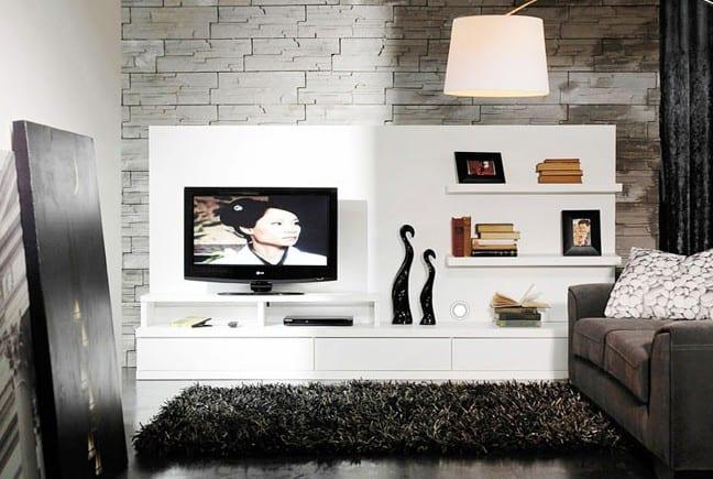 kelebek mobilya beyaz televizyon ünitesi