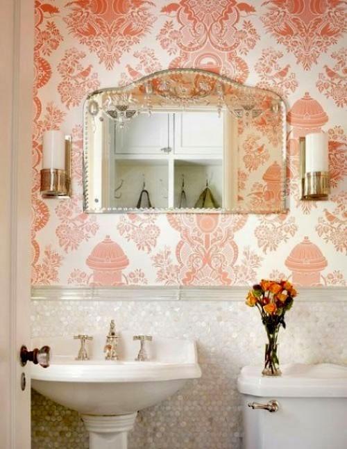 mercan-rengi desenli duvar kağıdı