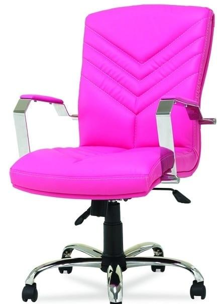pembe deri kaplı çalışma masası sandalyesi