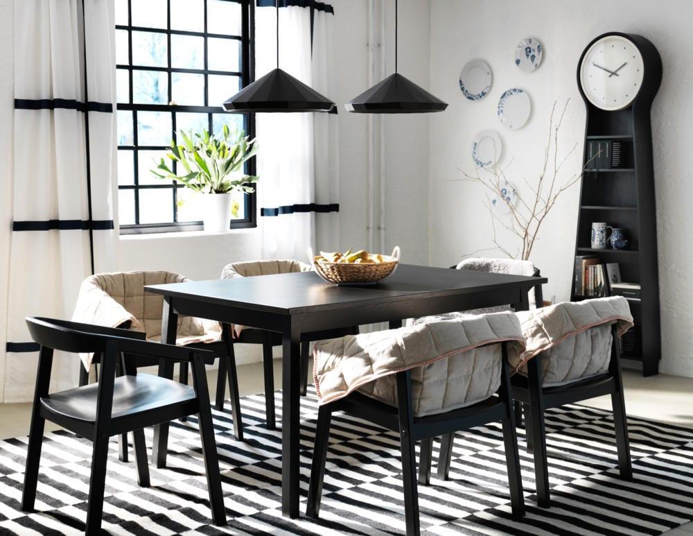 siyah modern yemek masası modelleri