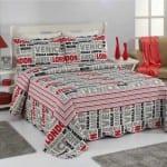 çift taraflı baskı desenli genç yatak örtüsü