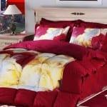 Bordo cicek desenli bellona uyku seti