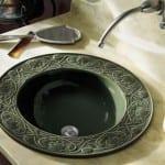 Kabartma Desenli yuvarlak lavabo