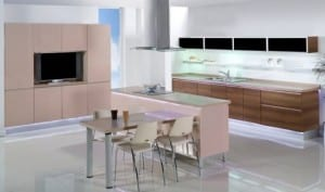 Kahverengi ve pudra rengi Sigmo İstikbal Regina mutfak dolabı