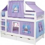 Mavi pembe lila ev görünümlü ranza modeli