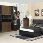 Merinos ahsap ve siyah renk kombinli yatak odasi
