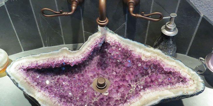 Doğal Taştan Dekoratif Banyo Lavabo Modelleri