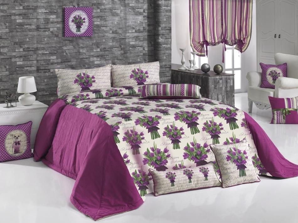 apolena mor lale desenli yatak örtüsü