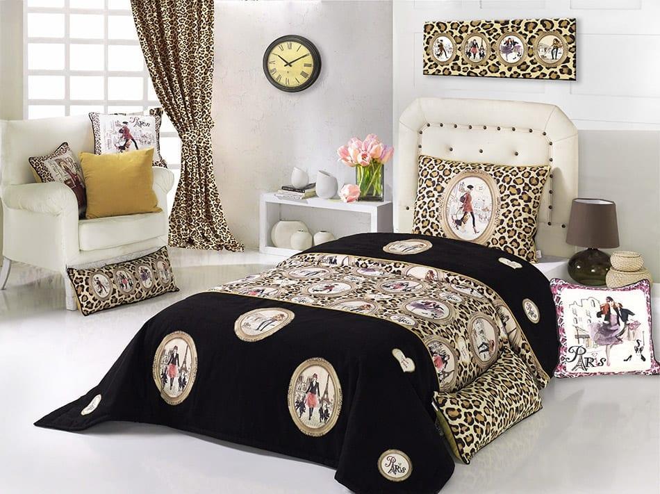 apolena siyah leopar desenli yatak örtüsü