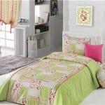 apolena yeşil renkli yatak örtüsü