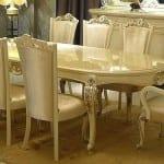 beyaz rustik yemek odasi