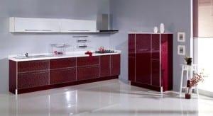 bordo renkli avangard istikbal mutfak dolapları