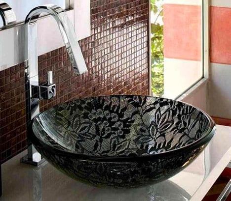 dantel desenli siyah cam lavabo