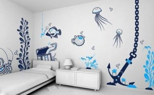 deniz temalı cocuk odasi duvar kagidi