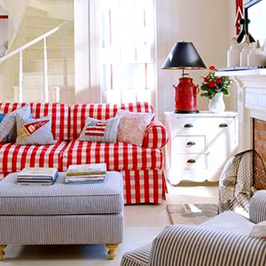 30 Patriotic Home Decoration Ideas In White Blue And Red: Ev Dekorasyonunda Ekose Desenlerin Zarafeti