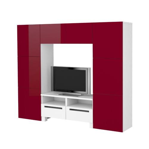 ikea kırmızı beyaz tv unitesi