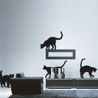 kara kedi motifli duvar sticker modeli