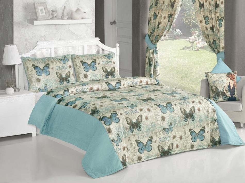 kelebek desenli apolena yatak örtüsü