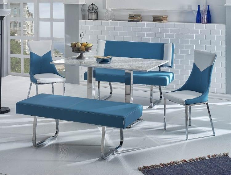 mavi bankli mutfak masasi