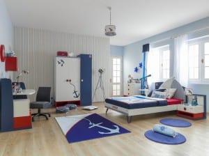 Mavi beyaz deniz temalı çocuk odası