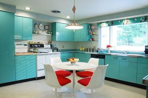 turkuaz renkli istikbal regina mutfak dolapları