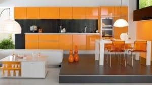 turuncu renkli istikbal hazir mutfak dolabi modeli
