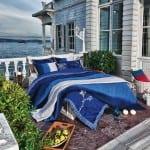 vande mavi desenli yatak örtüsü