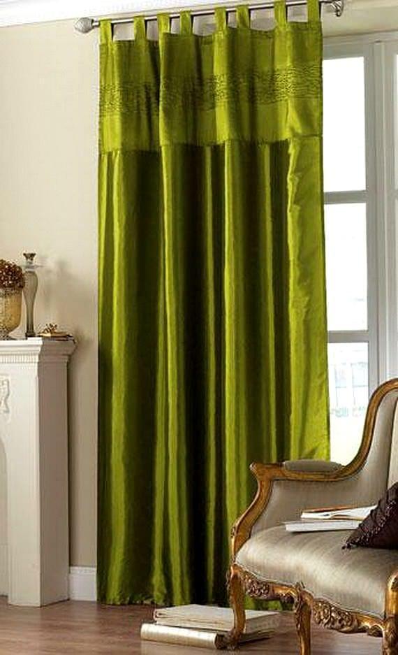 yağ yeşili yatak odasi perdesi