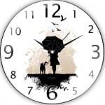 yagmurda yuruyen adam duvar saati modeli