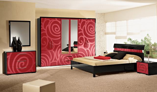 yeni moda kirmizi yatak odasi